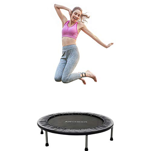 ANCHEER Mini Trampoline with Safety Pad, 220lbs Weight Capacity Fitness Rebounder Trampolines for Home Gym Office Garden Workout Cardio Training Equipment (Black, 40inch-Folding one time)