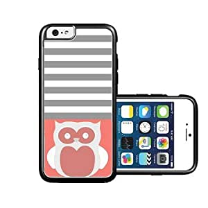 RCGrafix Brand Owl Black Coral & Grey Stripes White iPhone 6 Case - Fits NEW Apple iPhone 6 by lolosakes