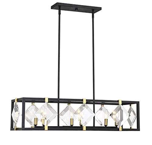 Savoy House Lowell 6-Light Trestle in Bronze w/Brass Accents