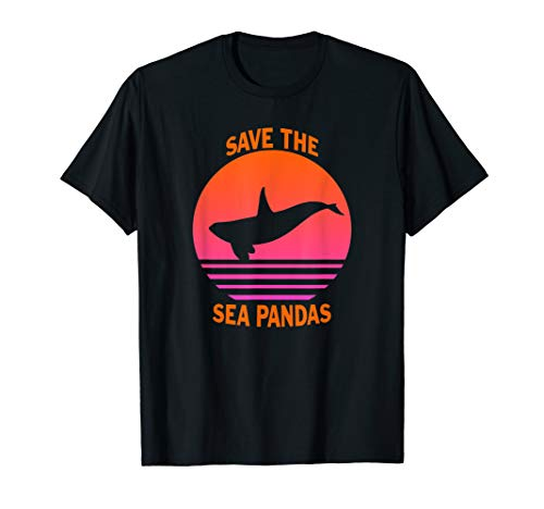 24f3b5f8541a Orca Save The Sea Pandas T-Shirt Vintage Retro Killer Whale