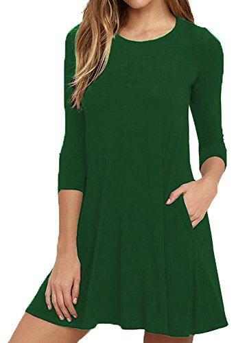 Bestisun T Loose Green Neck Fall Round Dress Shirt Sleeves Pocket 4 Flowy Casual 3 with Women's rTqr8w1