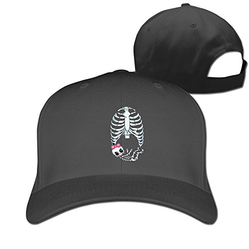 [Runy Custom Baby Girl Skeleton Pregnant Adjustable Hunting Peak Hat & Cap Black] (Funny Bones Skeleton Costume)