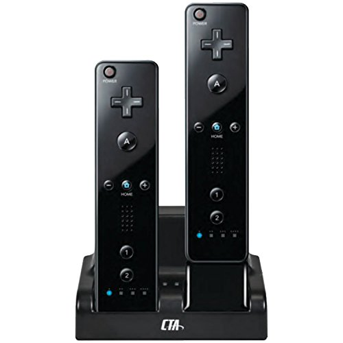 CTA Digital Wii Remote Dual Charge Station with 2 Rechargeable Batteries (Black)
