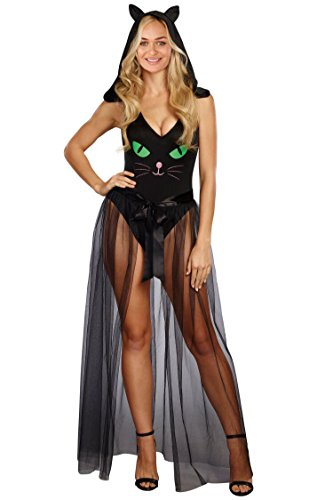 Women Adult Party Fancy Halloween Costume V Neck Pretty Kitty Bodysuit Cosplay Costume (Simple Costume Ideas For Couples)