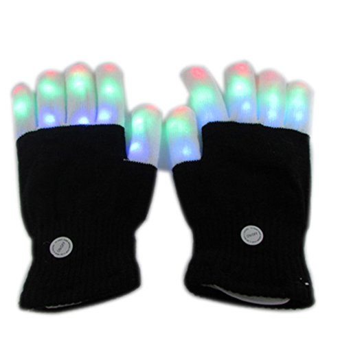 Novelty LED Dance Glove Flashing Finger Lighting Gloves Rave Glow Gloves Cool 7 Modes Colors Light Show