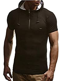 Men Casual Slim Fit Short Sleeve T-Shirt Top Hooded Pullover Zipper Sports Casual T-Shirt Hoodie