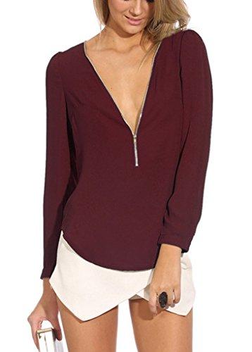 Clairvoyant Costume (Toyobuy Women Zipper Deep V-Neck Long Sleeve Chiffon Shirt Blouse Top Wine Red S)