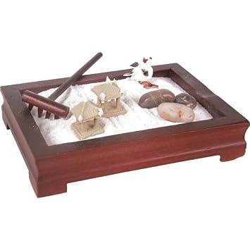 Miniatur ZEN Garten Set Mit Holzbehälter, Gartenrechen, 3 Figuren, Weissem  Sand Komplett