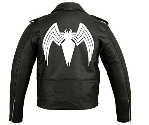 (Venom Tom Hardy Biker Sheep Leather Jacket (L) Black)