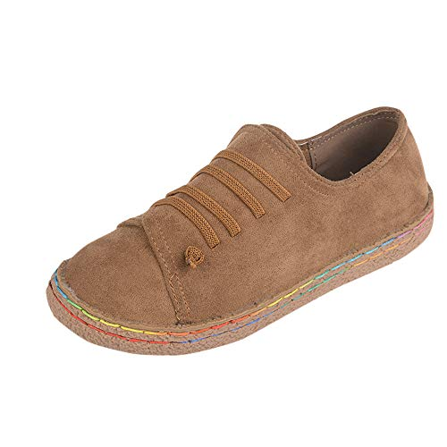Seaintheson Women's Flat Shoes, Ladies Soft Vintage Ankle Single Shoes Suede Leather Lace-Up Walking Boots