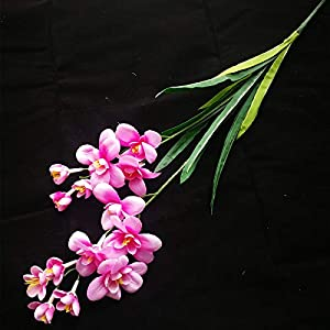 jiumengya 10pcs Artificial Freesia Flower Fake Butterfly Orchid Silk Cattleya Pink Color 14 Heads Cymbidium Orchid Flowers (Pink)