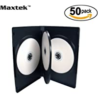 50 Pack Maxtek Standard 14mm Black Quad 4 Disc DVD Cases with Double Sided Flip Tray and Outter Clear Sleeve