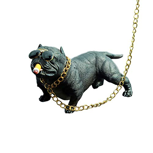 (YSHtanj Car Ornament Interior Decoration Loudspeaker Cartoon American Bully Resin Car Dashboard Interior Ornament Home Desk Decor - Black)