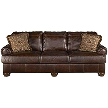 Ashley Furniture Signature Design   Axiom Casual Leather Rolled Arm Sofa    Walnut Brown