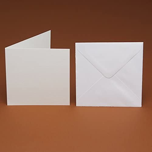 """6"""" (150mm) Large Square Blank White Smooth Cards and Matching Smooth envelopes (25): Amazon.co.uk: Kitchen & Home"""