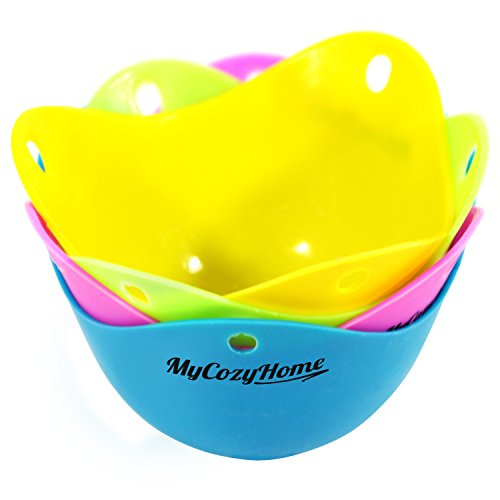 Egg Poacher Cups - Premium Silicone Poaching Pods - BPA Free - FDA Approved - For Stovetop or Microwave - Dishwasher Safe - Set of 4 Colorful Pods