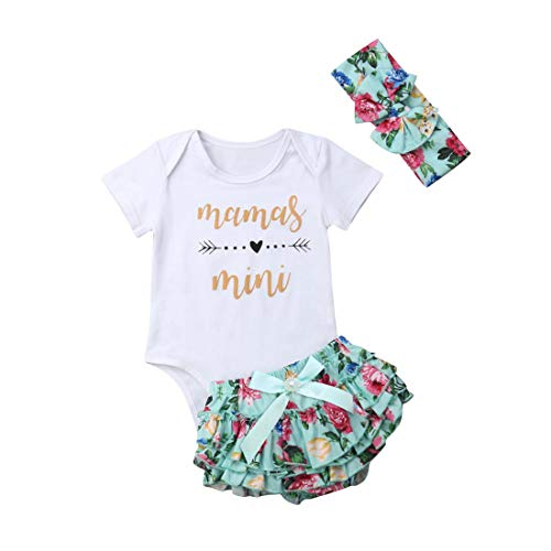 Newborn Baby Girls Clothes Daddy Mommy Outfit Rompers+Ruffel Pants Shorts+Headband 3PCS Clothing Set (Mamas Mini, 0-6M)