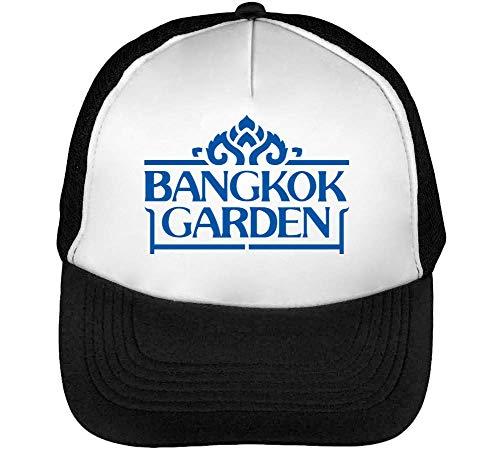Bangkok Garden Gorras Hombre Snapback Beisbol Negro Blanco