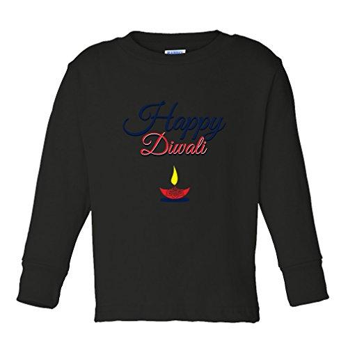 Cute Rascals Happy Diwali Kids Long Sleeve Cotton T-Shirt Tee Black 3T by Cute Rascals
