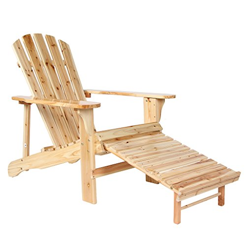 Wooden Adirondack Chair Painted With Clear Lacquer With Adjustable Footstool (Stacking Adirondack Chairs)
