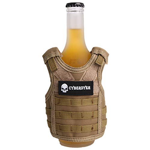 (CyberDyer Tactical Beer Vests Mini Molle Adjustable Shoulder Straps Beverage Holder with Cool Patch As a Gift for 12oz or 16oz Cans or Bottles (Khaki))