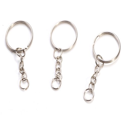 50x Thin Round 24mm Split Key Ring Keychain W/attached Extend - Chain Extend