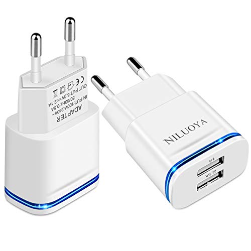 European Plug Adapter, Niluoya 2-Pack 2.1A/5V Europe Travel Dual USB Wall Charger Power Adapter for iPhone X 8/7/6/6S Plus 5S, Samsung Galaxy S8/S7/S6 Edge, iPad, LG, HTC, Moto