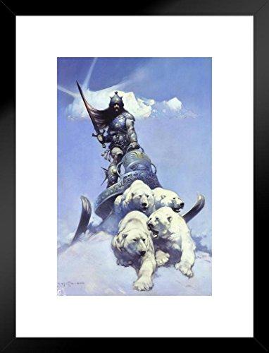 Poster Foundry Silver Warrior by Frank Frazetta Art Print Matted Framed Wall Art 20x26 inch