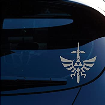 Zelda triforce with sword decal sticker for car window laptop motorcycle walls mirror and more 6 height sku 554 metallic silver