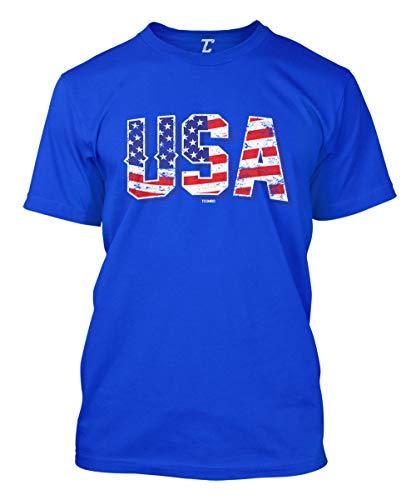 USA - Retro American Flag Stars & Stripes Men's T-Shirt (Royal, Large)