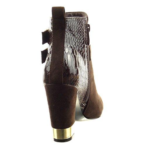 Sopily - Zapatillas de Moda Botines low boots A medio muslo mujer piel de serpiente multi-correa metálico Talón Tacón ancho alto 9.5 CM - Marrón