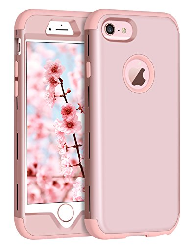BENTOBEN iPhone 6S Plus Case, iPhone 6 Plus Case, Heavy Duty Shockproof 3 in 1 Slim Hybrid Hard PC Cover Soft Silicone Rubber Bumper Protective Phone Case for iPhone 6S Plus/6 Plus 5.5 Inch Rose Gold