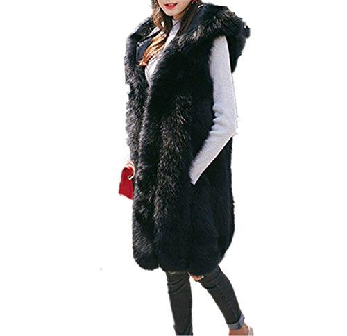 largo Outwear Escudo ❤️ mangas sin Chaleco Chaleco pelo Negro Prendas De Mujeres Chaleco Longra Piel de abrigo de Sintetica TZWgfq