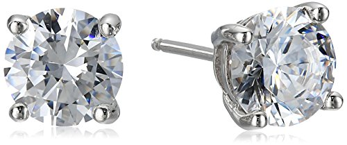 - Platinum Plated Sterling Silver Stud Earrings set with Round Cut Swarovski Zirconia (3 cttw)