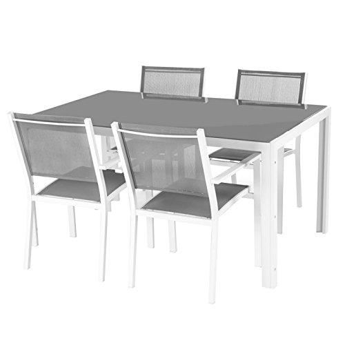 Conjunto mesa de jardín + 4 sillas (aluminio y vidrio gris y ...