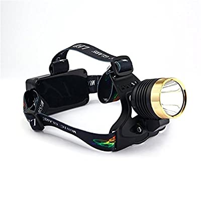 Multifunction Waterproof Music Glare LED Headlamp for Camping, Running, Hiking, Reading, FM Radio,Mp3 Play, Battery Powered Helmet Light+ 2 X 18650 Rechargeable Batteries + USB Charger(Golden)