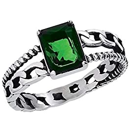 Fantasy Forge Jewelry Womens Dark Green Emerald Cut Cubic Zirconia Solitaire Anniversary Ring Stainless Steel Sizes 6-10