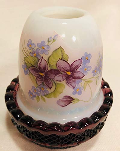 Milk & Amethyst Glass Glimmer Candle Fairy Lamp w/Floral