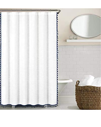 Handmade Tassel Vintage Shower Curtain - Solid White Fabric Liner, extra long, Heavy Duty, SPA beautiful lace shower curtains for Hotel Quality Bathroom, shower stall ,tub, 72 x 72 Inch ( Navy Blue ) ()