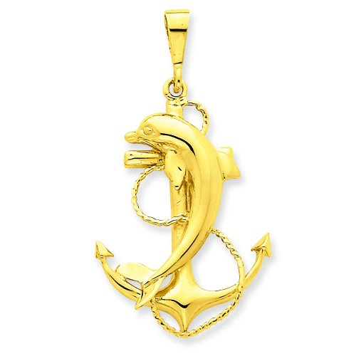 14K Yellow Gold Anchor & Dolphin Charm Sailing Pendant ()
