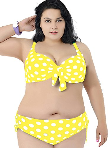 Women's Plus Dot Vintage Bikini Push Up Bust Belt Adjustable Swimsuit Swimwear Yellow White 6XL