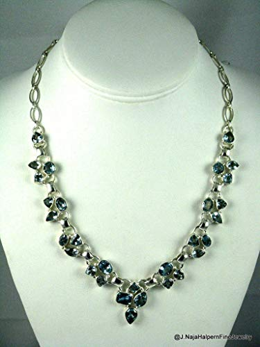 Blue Topaz Gemstone Necklace in Sterling Silver 925 with adjustable Sterling Chain and secure Clasp up to 20''.