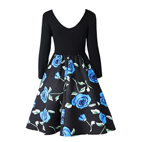 Womens Casual Flare Floral Midi Dress Long Sleeve V Neck A-line Vintage Patchwork Dress Black Red Plus Size from UNIFACO