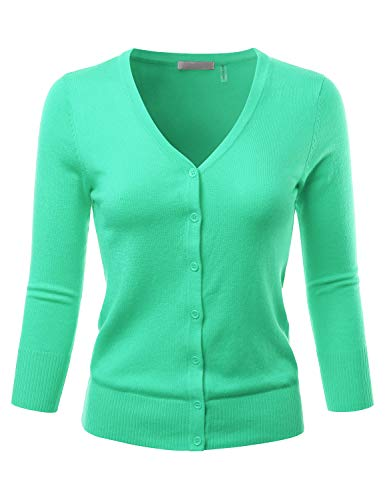 EIMIN Women's 3/4 Sleeve V-Neck Button Down Stretch Knit Cardigan Sweater Opal M (Sleeve Ribbed Sweater)