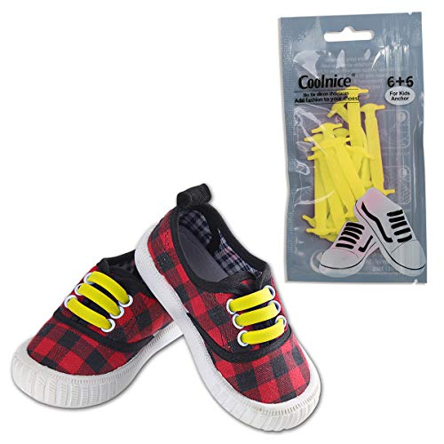 Coolnice No Tie Shoelaces for Kids-Waterproof & Stretchy Silicone Flat Elastic Running Shoe Laces with Multicolor for Athletic Sneaker Boots Board Shoes Dress and Casual Shoes-Yellow