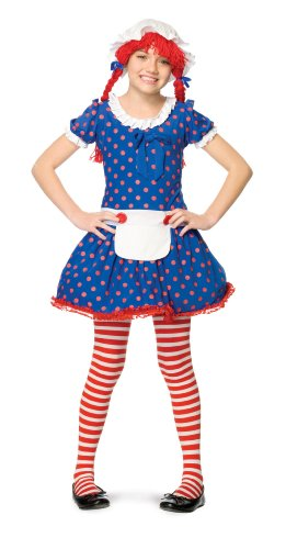 Leg Avenue Rag Doll Dress & Bonnet with Attached Wig (2 Piece), X-Small, Blue/Red ()