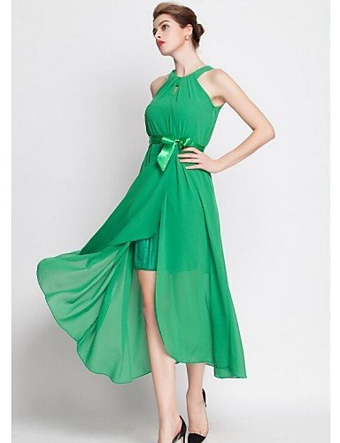 PU&PU Robe Aux femmes Gaine / Swing Street Chic,Couleur Pleine Licou Midi Polyester , green-one-size , green-one-size