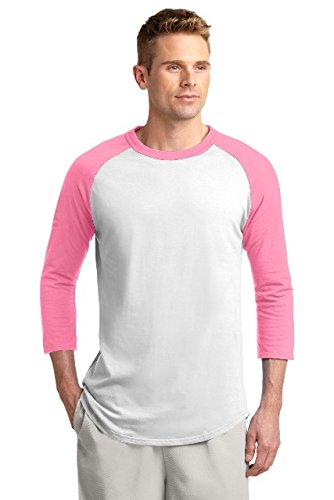 Sport-Tek Colorblock Raglan Jersey. T200 White/Bright Pink XS - Pink Softball Jerseys