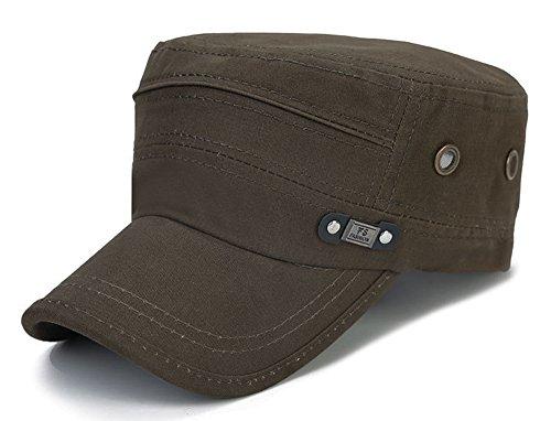 Cadet Style Cap - ChezAbbey Men's Fashionable Solid Brim Flat Top Cap Classical Cadet Style Hat Peaked Cap Topee