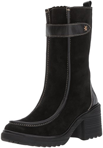 FLY London Women's WOOF783FLY Mid Calf Boot, Black Oil Suede/Rug, 39 M EU (8-8.5 US)
